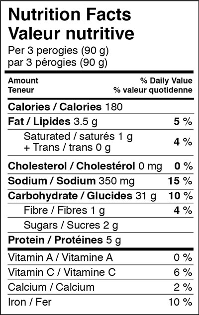 Cheemo Three Cheese Perogy Nutritional Info